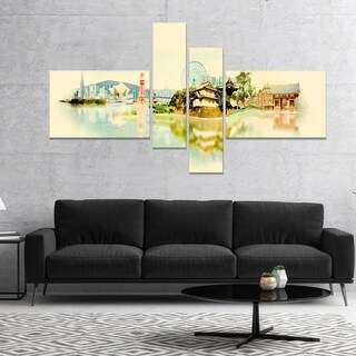 Designart 'Tokyo Panoramic View' Cityscape Watercolor Canvas Print