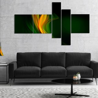 Designart 'Green Gold Upright Waves' Abstract Canvas art print