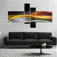 Designart '3D Gold Silver Wave Design' Abstract Canvas art print