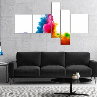 Designart 'Rainbow Colors Explosion' Abstract Watercolor Canvas Print