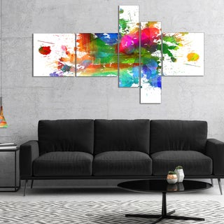 Designart 'Splashes of Colors' Abstract Oil Painting Canvas