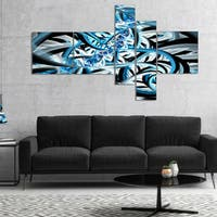 Designart 'Blue Spiral Fractal Design' Abstract Canvas art print