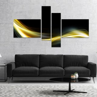 Designart 'Gold in Black Upward Lines' Abstract Canvas art print