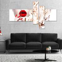Designart 'Fashion Sexy Woman with Flowers' Sensual Canvas Art Print