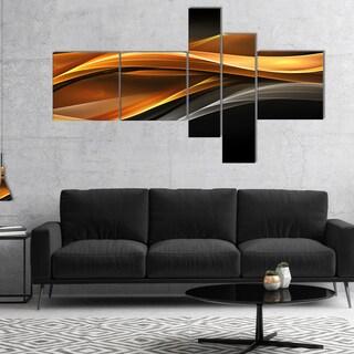 Designart 'Gold Silver Inward Lines' Abstract Canvas art print
