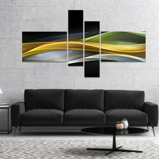 Designart 'Gold Silver Straight Yellow Lines' Large abstract art