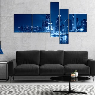 Designart 'Blue Chicago Skyline Night' Cityscape Photo Canvas Print