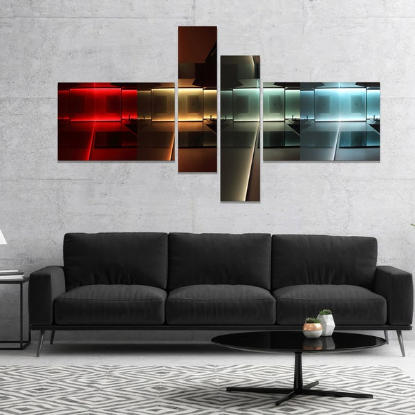 Shop Designart 'Kitchen With LED Lighting' Abstract Canvas