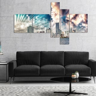 Designart 'Miami Skyline with Clouds' Cityscape Photo Canvas Print