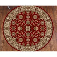 Admire Home Living Amalfi Red Oriental Area Rug (8' Round)