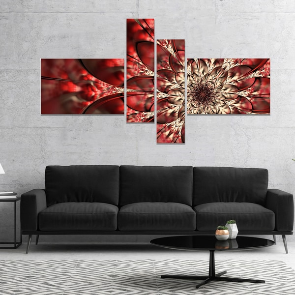 Designart 'Red Symmetrical Flowers Pattern' Floral Art Canvas Print - Red