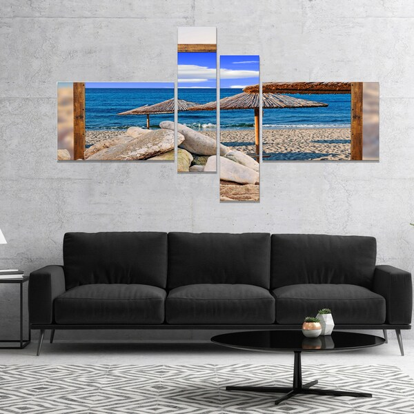 Designart 'Framed Effect Beach Umbrellas' Seashore Canvas Art Print