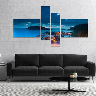 Designart 'Rocky Sea with Long Exposure' Seashore Photo Canvas Art Print