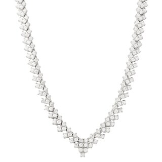 Luxiro Sterling Silver White Cubic Zirconia Tennis Necklace