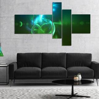 Designart 'Glowing Green Circles' Abstract Canvas art print