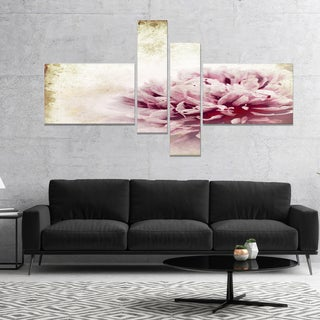 Designart 'Pink Peony in Vintage Style' Floral Art Canvas Print