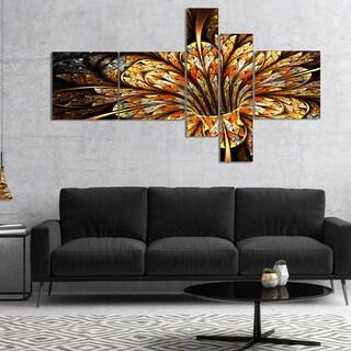 Designart 'Golden Shiny Fractal Flower' Floral Art Canvas Print