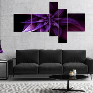 Designart 'Fractal Flower Purple' Floral Art Canvas Print