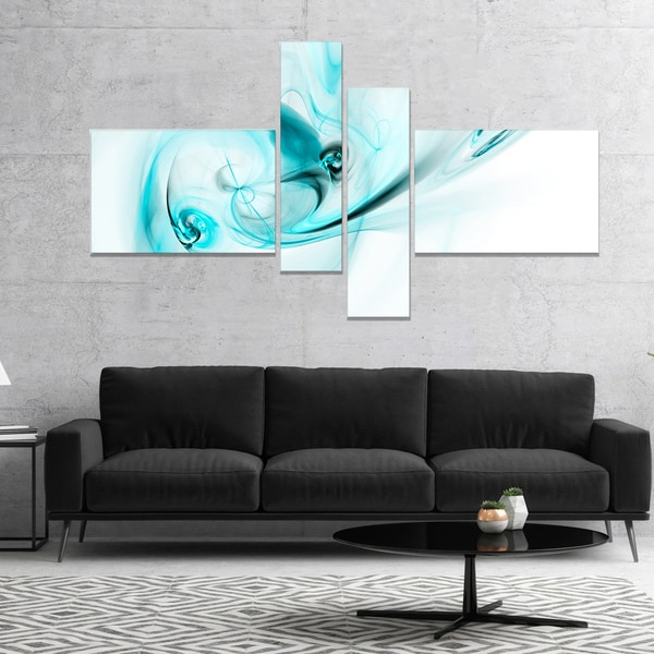 Designart 'Colored Smoke Light Blue' Abstract Canvas art print