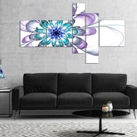 Designart 'Fractal Flower Light Blue' Floral Art Canvas Print - Blue
