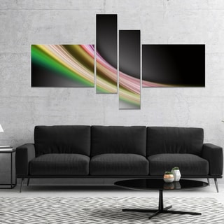 Designart 'Pink Green Abstract Lines' Abstract Canvas art print
