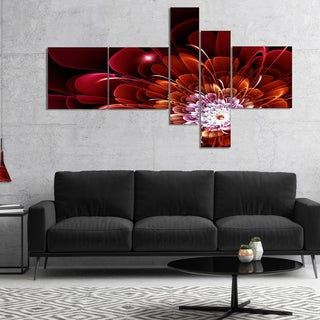 Designart 'Fractal Red and Yellow Flower' Floral Art Canvas Print