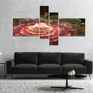 Designart 'Fractal Abstract Pink Flower' Floral Art Canvas Print