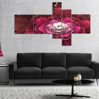 Designart 'Fractal Red Rose Flower' Floral Art Canvas Print