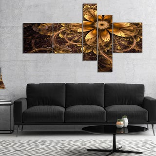Designart 'Fractal Dark Yellow Flower' Floral Art Canvas Print