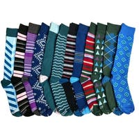 12 Pairs of Colorful Patterned Mens Dress Socks Pack, Colored Stripes Pattern Men Bulk Sock Fashion Designs
