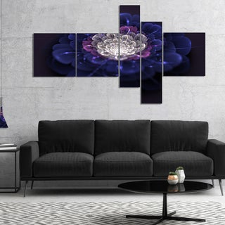 Designart 'Blue White Fractal Flowers' Floral Art Canvas Print