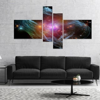 Designart 'Purple Lights of Network' Abstract Canvas art print