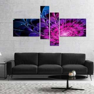Designart 'Fractal Purple Rose Flower' Floral Art Canvas Print
