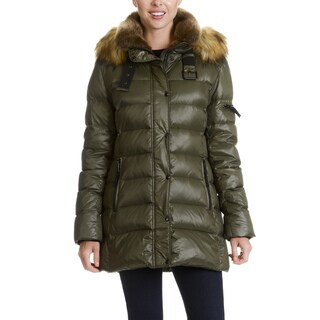 S13 New York Women's Faux Fur Trim Quilted Buckle Neck Jacket