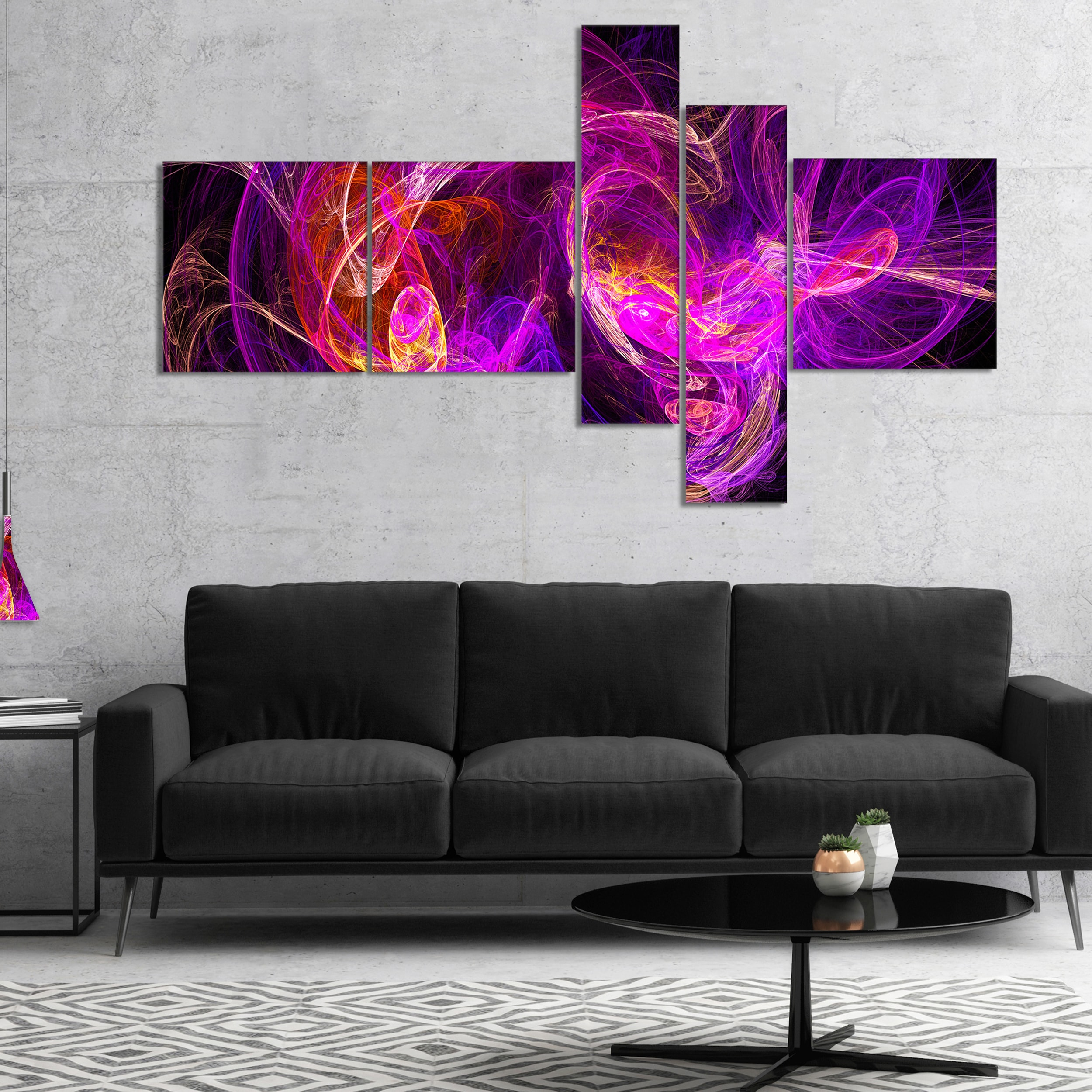 Designart Colored Smoke Blue Purple Abstract Canvas Art Print Overstock 17013393