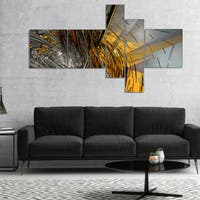 Designart 'Fractal Yellow Connected Stripes' Abstract Canvas Art Print