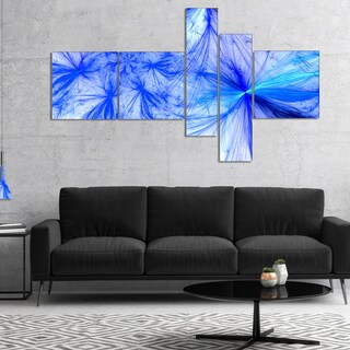 Designart 'Christmas Fireworks Blue' Abstract Print On Canvas