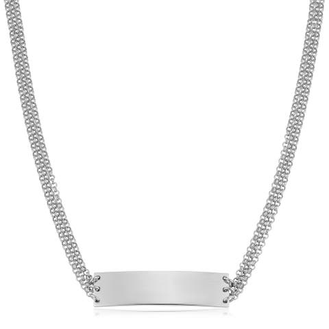 Fremada Italian Rhodium Plated Sterling Silver Multi Strand Rolo Bar Choker Necklace (adjusts from 13 - 15 inches)
