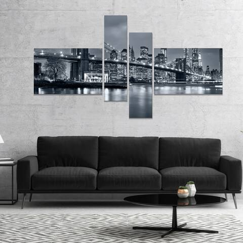 Designart 'Panorama New York City at Night' Cityscape Canvas Print