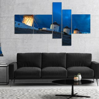 Designart 'Mykonos Windmills at Blue Hour' Landscape Photography Canvas Print