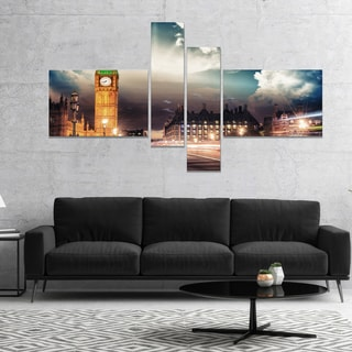 Designart 'Big Ben UK from Westminster Bridge' Cityscape Photo Canvas Print