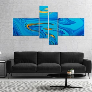 Designart 'Light Blue Abstract Acrylic Paint Mix' Abstract Art on Canvas