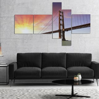 Designart 'Gold Gate Bridge and Sky' Landscape Photo Canvas Art Print
