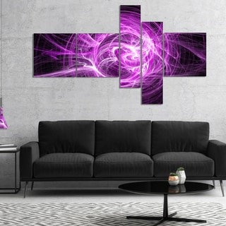 Designart 'Wisps of Smoke Purple in Black' Abstract Canvas art print