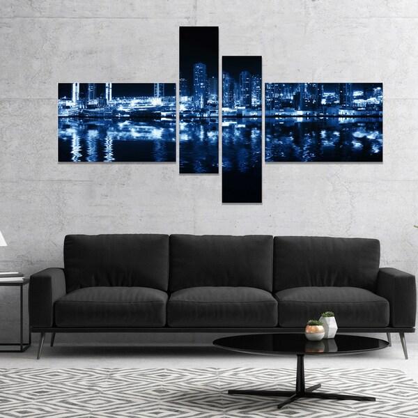Designart 'Glowing City at Midnight' Cityscape Photo Canvas Print