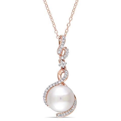 Miadora Rose Plated Sterling Silver Cultured FW Pearl White Sapphire 1/6ct TDW Diamond Ribbon Drop Necklace (10-10.5 mm)