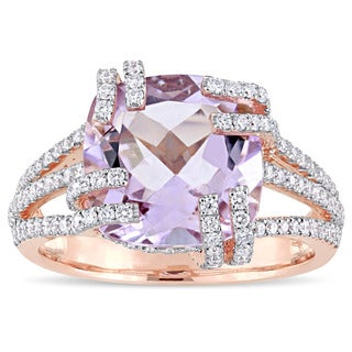 Miadora Signature Collection 14k Rose Gold Rose de France and 3/4ct TDW Diamond Split Shank Cocktail