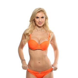 Lisa Blue Blazing Orange Balconette Bikini Top with Belted Bikini Bottom
