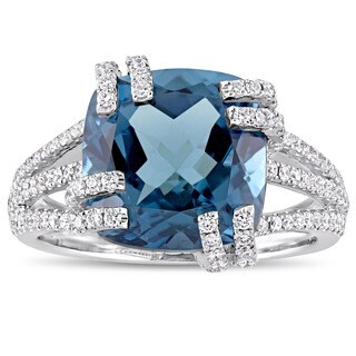 Miadora Signature Collection 14k White Gold London-Blue Topaz & 3/4ct TDW Diamond Split Shank Cockta