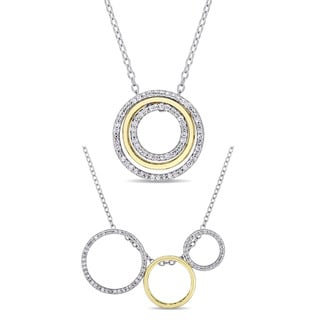 Miadora 2-Tone White and Yellow Plated Sterling Silver 1/6ct TDW Diamond Interchangeable Necklace with Message Gift Box for Mom